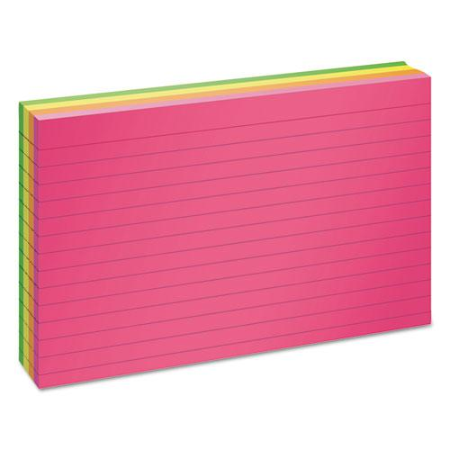 Ruled Neon Glow Index Cards, 4 x 6, Assorted, 100/Pack. Picture 2