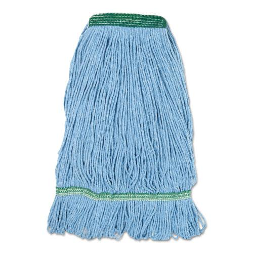 "Super Loop Wet Mop Head, Cotton/Synthetic Fiber, 1"" Headband, Medium Size, Blue. Picture 1"