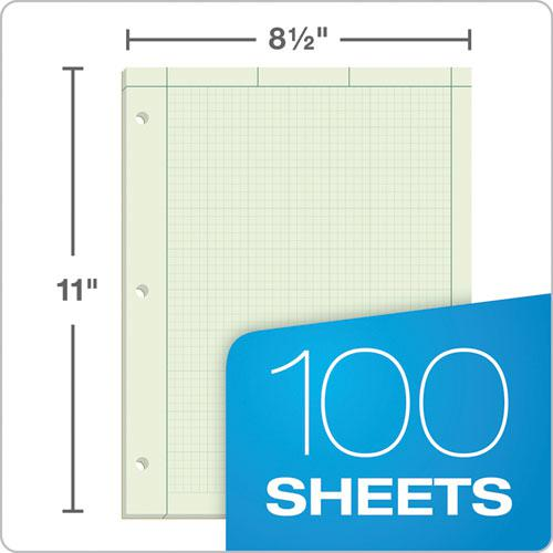 Engineering Computation Pads, 5 sq/in Quadrille Rule, 8.5 x 11, Green Tint, 100 Sheets. Picture 5