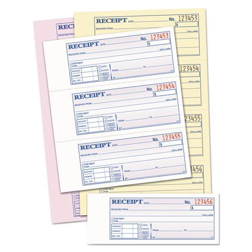 Money/Rent Receipt Books, 2-3/4 x 7 1/8, Three-Part Carbonless, 100 Sets/Book. Picture 2