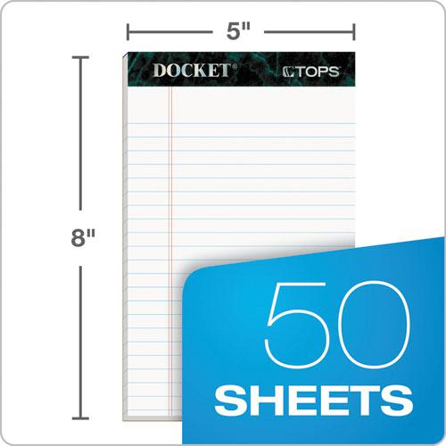 Docket Ruled Perforated Pads, Narrow Rule, 5 x 8, White, 50 Sheets, 12/Pack. Picture 2