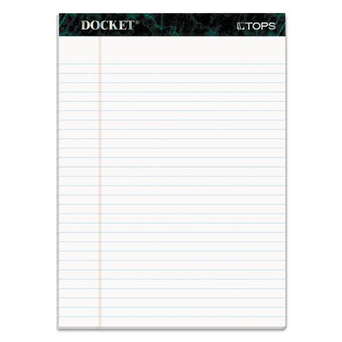 Docket Ruled Perforated Pads, Wide/Legal Rule, 8.5 x 11.75, White, 50 Sheets, 12/Pack. Picture 1
