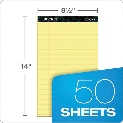 Docket Ruled Perforated Pads, Wide/Legal Rule, 8.5 x 14, Canary, 50 Sheets, 12/Pack. Picture 2