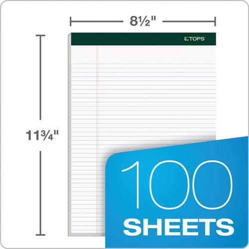 Double Docket Ruled Pads, Narrow Rule, 8.5 x 11.75, White, 100 Sheets, 4/Pack. Picture 3