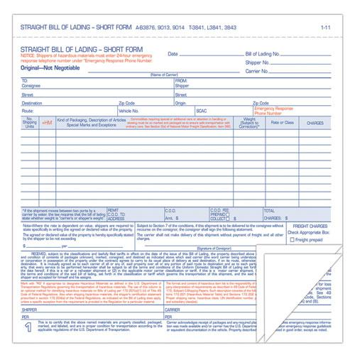 Hazardous Material Short Form, 7 x 8 1/2, Three-Part Carbonless, 250 Forms. Picture 1