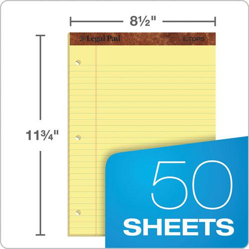 """""""The Legal Pad"""" Ruled Pads, Wide/Legal Rule, 11.75 x 8.5, Canary, 50 Sheets, Dozen. Picture 2"""