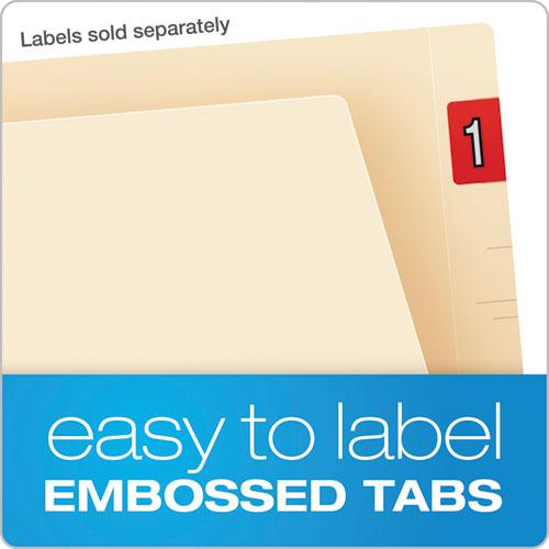 Manila Laminated End Tab Folders with One Fastener, Straight Tab, Letter Size, 11 pt. Manila, 50/Box. Picture 5