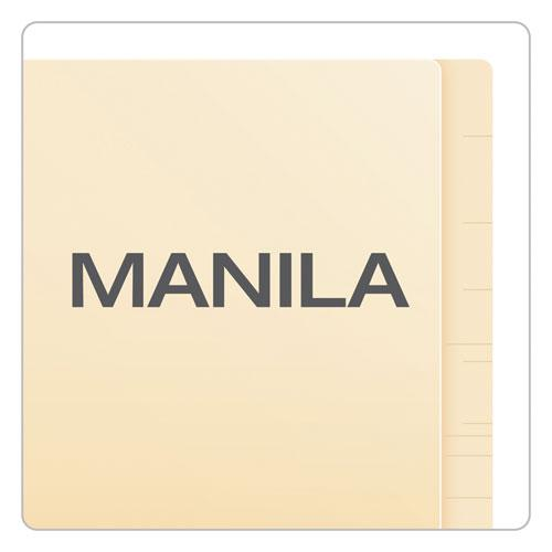 Manila Laminated End Tab Folders with One Fastener, Straight Tab, Letter Size, 11 pt. Manila, 50/Box. Picture 6