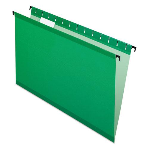 SureHook Hanging Folders, Legal Size, 1/5-Cut Tab, Bright Green, 20/Box. Picture 1
