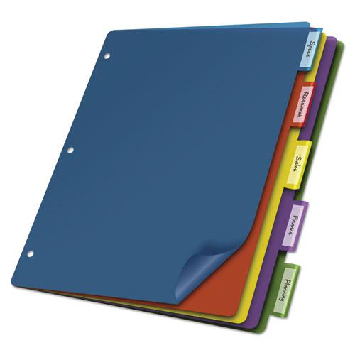 Poly Index Dividers, 5-Tab, 11 x 8.5, Assorted, 4 Sets. Picture 1