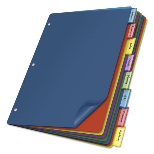 Poly Index Dividers, 8-Tab, 11 x 8.5, Assorted, 4 Sets. Picture 1