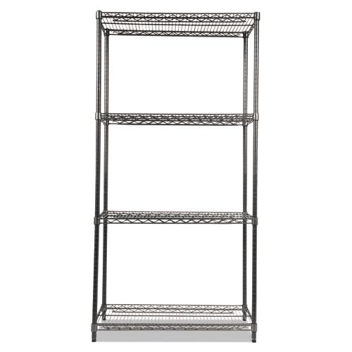 Wire Shelving Starter Kit, Four-Shelf, 36w x 18d x 72h, Black Anthracite. Picture 2