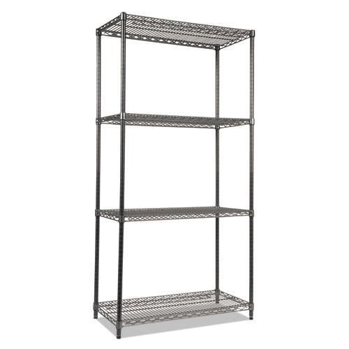 Wire Shelving Starter Kit, Four-Shelf, 36w x 18d x 72h, Black Anthracite. Picture 1