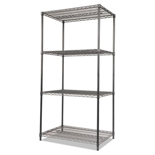 Wire Shelving Starter Kit, Four-Shelf, 36w x 18d x 72h, Black Anthracite. Picture 3
