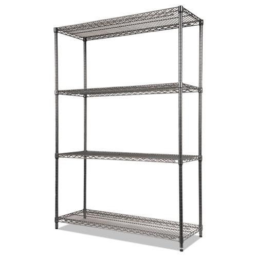 Wire Shelving Starter Kit, Four-Shelf, 48w x 18d x 72h, Black Anthracite. Picture 3