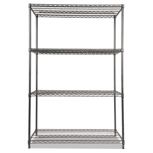 Wire Shelving Starter Kit, Four-Shelf, 48w x 24d x 72h, Black Anthracite. Picture 2