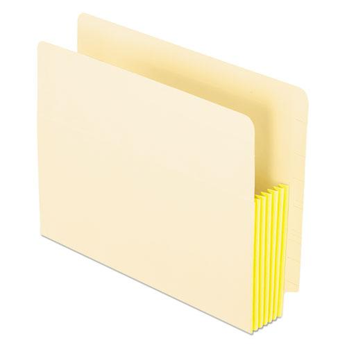 """Manila Drop Front Shelf File Pockets, 5.25"""" Expansion, 10 Sections, Letter Size, Manila, 10/Box. Picture 1"""