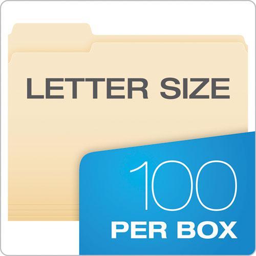 Manila File Folders, 1/3-Cut Tabs, Left Position, Left Position, Letter Size, 100/Box. Picture 5