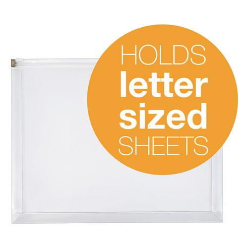 Poly Zip Envelope, Zipper Closure, 10 x 13, Clear, 5/Pack. Picture 2