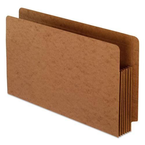 """Heavy-Duty End Tab File Pockets, 5.25"""" Expansion, Legal Size, Red Fiber, 10/Box. Picture 1"""