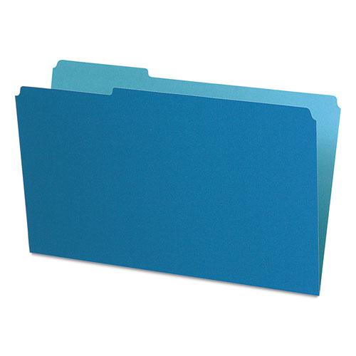 Interior File Folders, 1/3-Cut Tabs, Legal Size, Blue, 100/Box. Picture 1