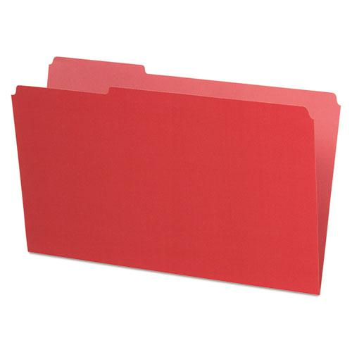 Interior File Folders, 1/3-Cut Tabs, Legal Size, Red, 100/Box. Picture 1