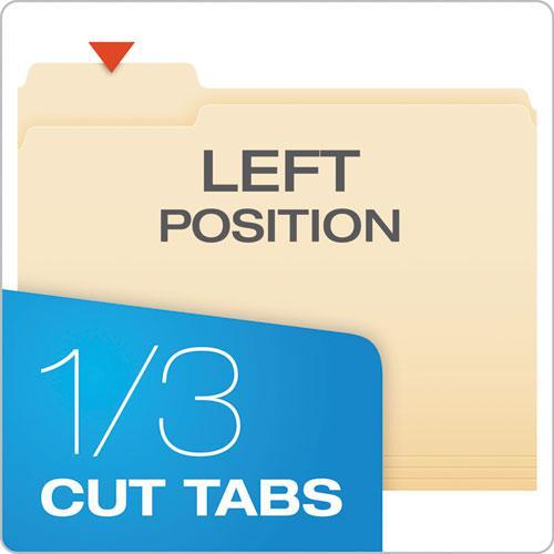 Manila File Folders, 1/3-Cut Tabs, Left Position, Left Position, Letter Size, 100/Box. Picture 2