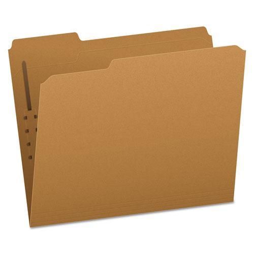Kraft Folders with One Fastener, 1/3-Cut Tabs, Letter Size, Kraft, 50/Box. Picture 1
