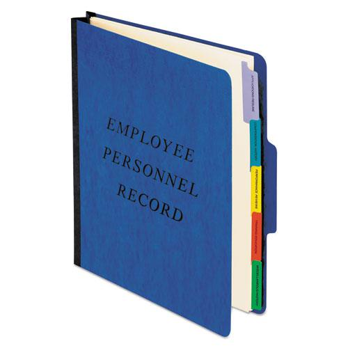 Vertical Style Personnel Folders, 1/3-Cut Tabs, Center Position, Letter Size, Blue. Picture 1
