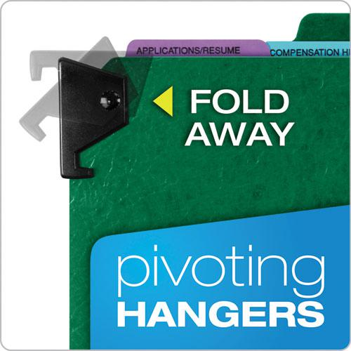 Hanging Style Personnel Folders, 1/3-Cut Tabs, Center Position, Letter Size, Green. Picture 6