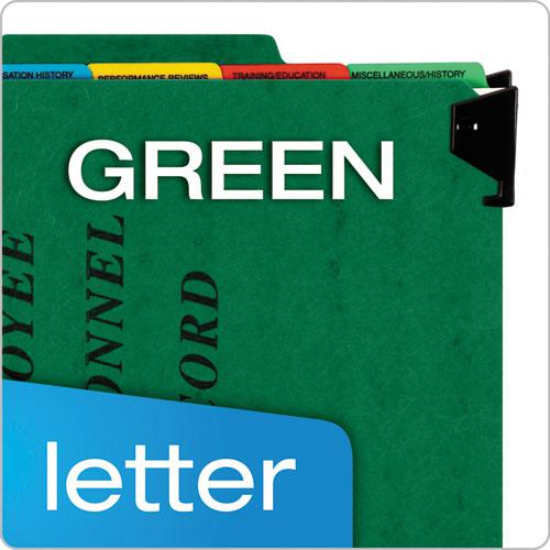 Hanging Style Personnel Folders, 1/3-Cut Tabs, Center Position, Letter Size, Green. Picture 7