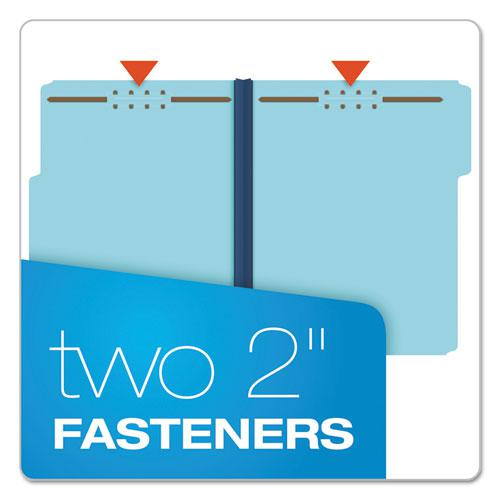 """Earthwise by Heavy-Duty Pressboard Folders with Two Fasteners, 1/3-Cut Tabs, 2"""" Expansion, Letter Size, Light Blue, 25/Box. Picture 3"""