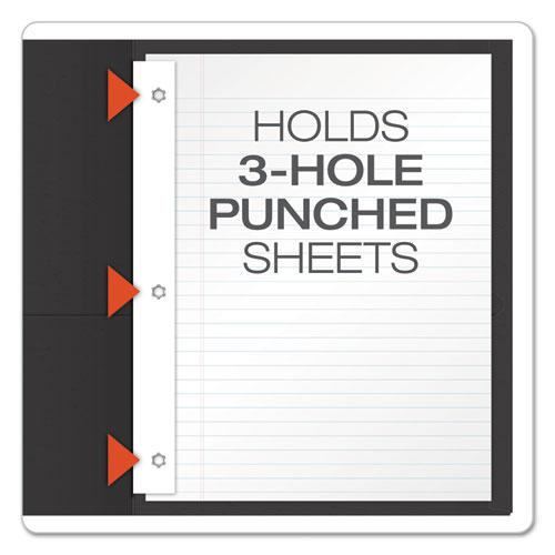 """Twin-Pocket Folders with 3 Fasteners, Letter, 1/2"""" Capacity, Black 25/Box. Picture 3"""