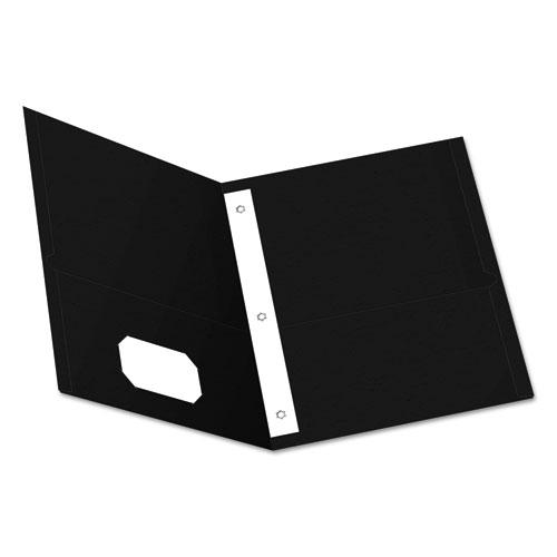 """Twin-Pocket Folders with 3 Fasteners, Letter, 1/2"""" Capacity, Black 25/Box. Picture 1"""