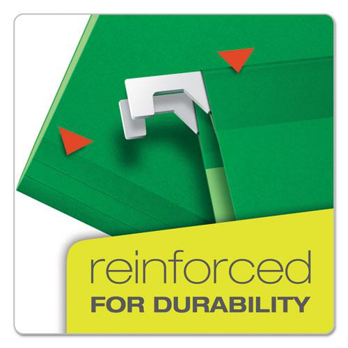 Extra Capacity Reinforced Hanging File Folders with Box Bottom, Letter Size, 1/5-Cut Tab, Bright Green, 25/Box. Picture 3