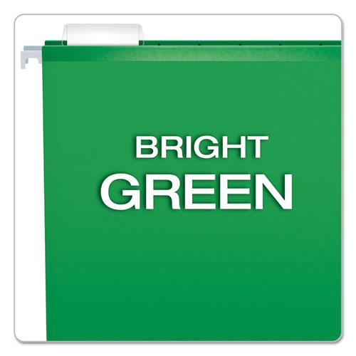 Extra Capacity Reinforced Hanging File Folders with Box Bottom, Letter Size, 1/5-Cut Tab, Bright Green, 25/Box. Picture 4