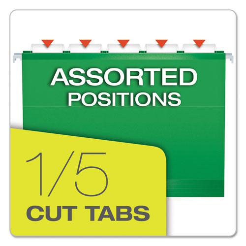 Extra Capacity Reinforced Hanging File Folders with Box Bottom, Letter Size, 1/5-Cut Tab, Bright Green, 25/Box. Picture 5