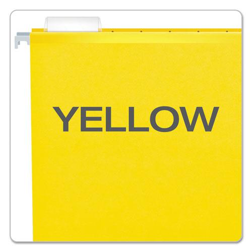 Extra Capacity Reinforced Hanging File Folders with Box Bottom, Legal Size, 1/5-Cut Tab, Yellow, 25/Box. Picture 4