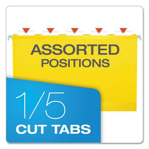 Extra Capacity Reinforced Hanging File Folders with Box Bottom, Legal Size, 1/5-Cut Tab, Yellow, 25/Box. Picture 5