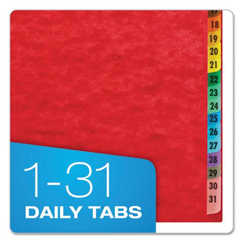 Expanding Desk File, 1-31, Letter, Acrylic-Coated Pressboard, Red
