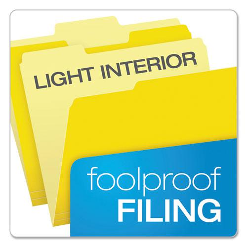 Colored File Folders, 1/3-Cut Tabs, Letter Size, Yellowith Light Yellow, 100/Box. Picture 3