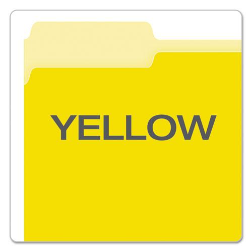Colored File Folders, 1/3-Cut Tabs, Letter Size, Yellowith Light Yellow, 100/Box. Picture 4