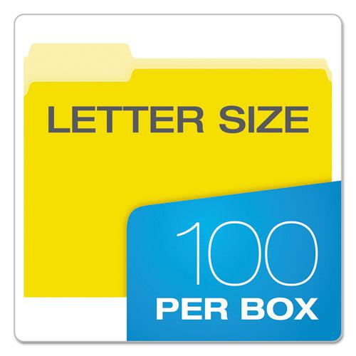 Colored File Folders, 1/3-Cut Tabs, Letter Size, Yellowith Light Yellow, 100/Box. Picture 5