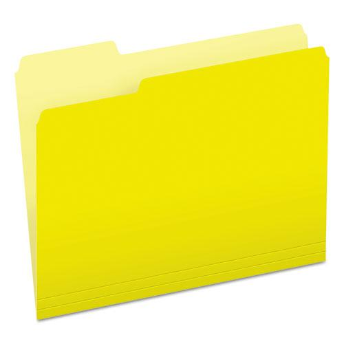 Colored File Folders, 1/3-Cut Tabs, Letter Size, Yellowith Light Yellow, 100/Box. Picture 1