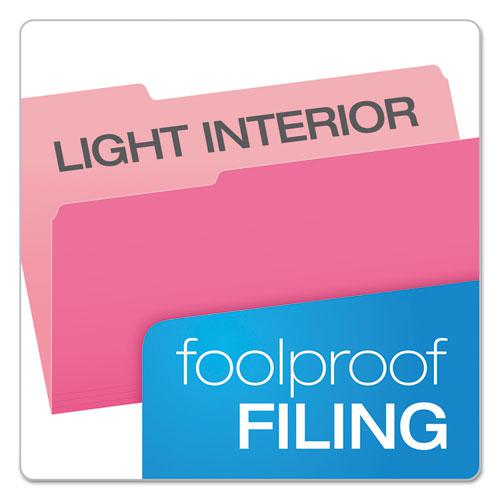 Colored File Folders, 1/3-Cut Tabs, Legal Size, Pink/Light Pink, 100/Box. Picture 3
