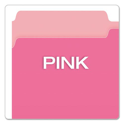 Colored File Folders, 1/3-Cut Tabs, Legal Size, Pink/Light Pink, 100/Box. Picture 4