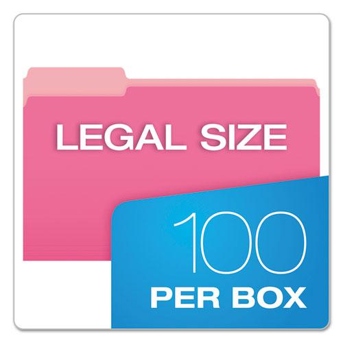 Colored File Folders, 1/3-Cut Tabs, Legal Size, Pink/Light Pink, 100/Box. Picture 5