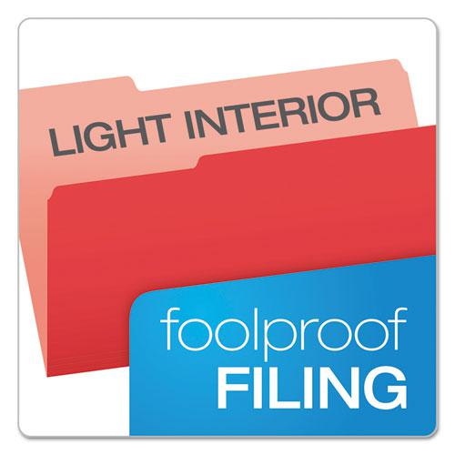 Colored File Folders, 1/3-Cut Tabs, Legal Size, Red/Light Red, 100/Box. Picture 3