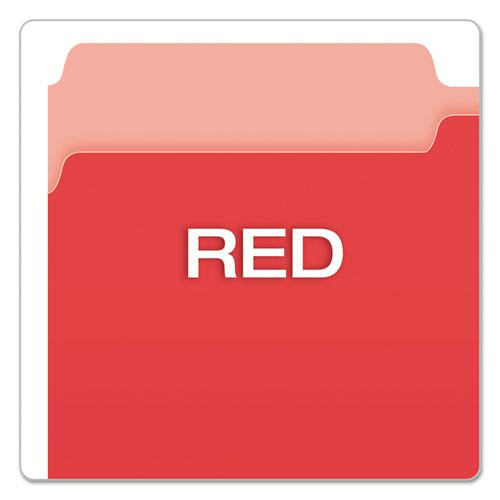 Colored File Folders, 1/3-Cut Tabs, Legal Size, Red/Light Red, 100/Box. Picture 4