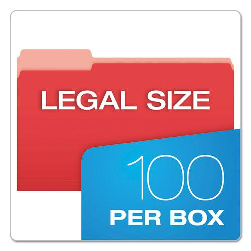 Colored File Folders, 1/3-Cut Tabs, Legal Size, Red/Light Red, 100/Box. Picture 5